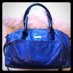 Ocean Blue Kate Spade faux Ostrich purse Adj strap